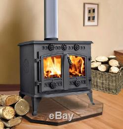 12KW Cast Iron Log Burner WoodBurner Modern MultiFuel Wood Burning Stove