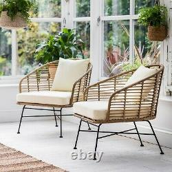 2 x Bamboo Garden Chairs. Outdoor Weatherproof Patio Rattan Lounge Armchairs