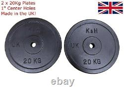 2x 20kg Cast Iron Weight Plates Discs, 1 hole, for Dumbbell, Barbell