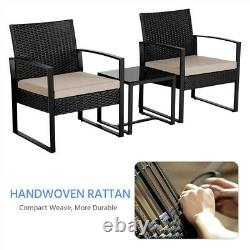 3 Piece Rattan Garden Furniture Sets Weaving Wicker Chairs and Table with Cushions
