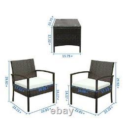 3 Pieces Rattan Set Furniture Garden Cushion Bistro Wicker Black Brown Patio UK