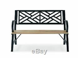 3 Seater Cast Iron Garden Outdoor W Cross Line Back Park Bench Seat Furniture