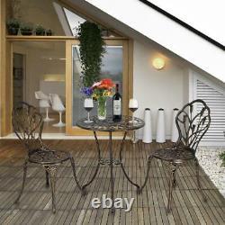 3PCS Bistro Set Outdoor Garden Patio Table Chairs Art Furniture Cast Aluminium