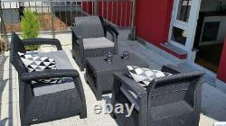 4 Piece Keter Rattan Garden Set Furniture Chairs Sofa Table Patio Conservatory