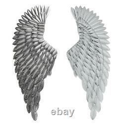 40'' Large Antique Silver Angel Wings Chic Wall Mounted Hanging Art Home Decor