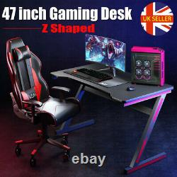 47'' Gaming Desk PC Computer Table Z Workstation Home Office with Headphone Hook