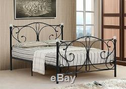 4ft, 4ft6 Double & 5ft King Black or White Metal Bed Frame With Crystal Finials