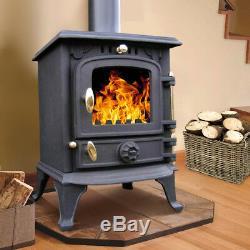 5.5KW Multifuel Cast Iron Log Burner Wood Burning Stove Woodburners Clean Burn