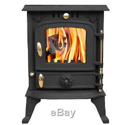 5.5KW Woodburning Stove Cast Iron Multifuel Log Wood Burner with Free Stove Fan