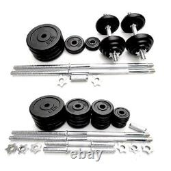 50kg Adjustable Dumbbell and Barbell Set Cast Iron Plates Home Gym Weights
