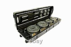 50kg DUMBBELL SET CAST IRON WEIGHT BARREL LIFTING IN CARRY CASE WITH WHEELS