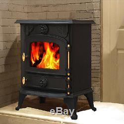 6.5KW Multifuel Woodburner Stove Log Wood Burning Burner Cast Iron Fireplace