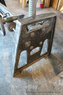 60 L industrial Base dining table iron vintage finish crank any type of slabs