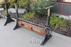 61 L Iron crank dining base table industrial design adjustable old wood beam