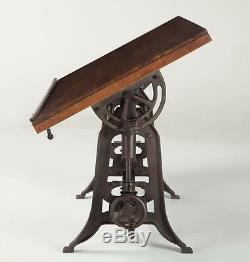 62 L Drafting desk crank table solid wood top iron base industrial design