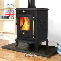 7.5KW Modern Multifuel Log Burning Cast Iron Wood Burner Stove Fireplace JA001