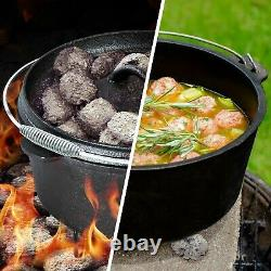 7 Piece Heavy Duty Dutch Oven Cast Iron Cookware Camping Fire Cooking Box New