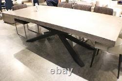 95 L dining table industrial design concrete cement top black iron legs unique