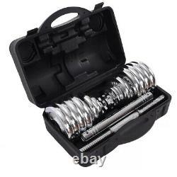 Adjustable Cast Iron Chrome Dumbbell Set 20KG Dumbbells Barbell Set In Box