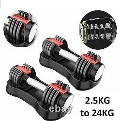 Adjustable Dumbbell 2.5-24KG Weights Dumbbells Exercise Fitness Gym Workout