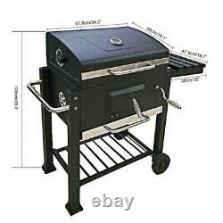 BBQ Barbecue Charcoal Grill with Wheels Smoker Portable Outdoor Party Patio Garden