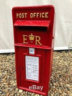 British Post Box Royal Mail Pillar Cast Iron Post Office ER Red