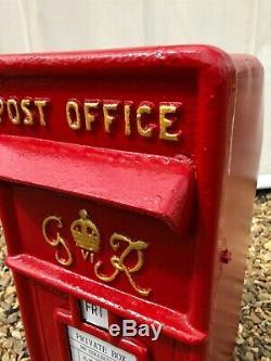 British Post Box Royal Mail Pillar Cast Iron Post Office GR Red