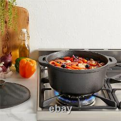 Cast Iron Casserole Dish Black Pre-Seasoned Ovenproof Pot & Lid 3L Pan
