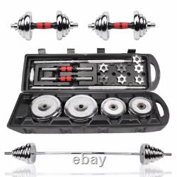 Cast Iron Chromed 50KG Dumbbell Barbell Set Gym Weights Plates With Carry Case