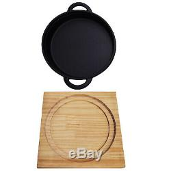 Cast Iron Cookware Frying Pan Grill Backing Pot Skillet With Wood Serving Board