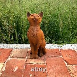 Cast Iron Curious Cat Statue Home Garden Ornament Kitten Kitty Feline Feature