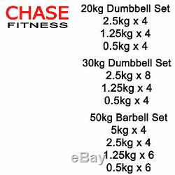 Cast Iron Dumbbell Barbell Set Gym Weights 20kg 30kg 50kg by Chase Fitness