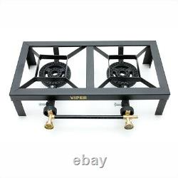 Cast Iron LPG Gas Burner Boiling Ring Catering Stove Camping Propane Double TSG