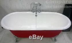 Cast Iron Roll Top Bath Tub Centre Tap Hole Ball & Claw Feet Lifetime Guarantee