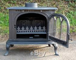 Cathedral 12 14kw cast iron wood burning multi fuel stove woodburner log fire
