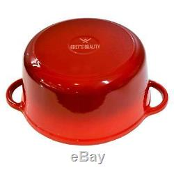 Chef's Quality Cast Iron Enamel Cookware Set Dutch Oven, Skillet & Griddle Pan