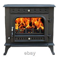 Clean Burn Log Burner Stove Multifuel Cast Iron Wood Burning Fireplace 13KW
