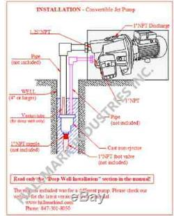 Convertible Deep Well Jet Pump, 1 HP 115/230V, max 82 ft heavy duty cast iron