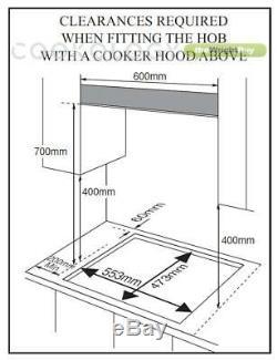 Cookology Gas on Glass Hob GGH605BK 60cm, Built-in, Black Glass & Cast Iron