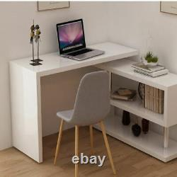 Corner Computer Desk L-shaped 360° Rotatable PC Table Workstation Home Office