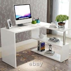 Corner L-Shape Computer Desk PC Laptop Table with Shelf Home Office Workstation