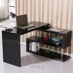 Corner L-Shaped Computer Desk PC Laptop Table Workstation Home Office with Shelves