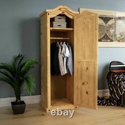 Corona 1 Door Wardrobe Solid Pine Wood Mexican Bedroom Furniture Storage Arc Top