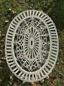 Cream Cast & Wrought Iron Style Oval Garden Set 2 Folding Chairs & Table