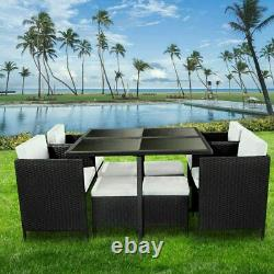 Cube Rattan Garden Furniture Set Chairs Sofa Table Outdoor Patio Wicker 8 Seater