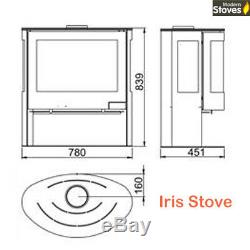 Curved 3 Sided Wood Burning Multi-Fuel Iris 10kw Contemporary Stove
