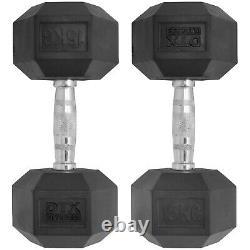 DTX Fitness 2x 15kg Rubber Encased Dumbbell Hex Weights 30kg Dumbell/Gym Workout