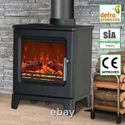 Defra 4.3KW Cast Iron Woodburner Stove Log Wood Burning Burner Modern Fireplace