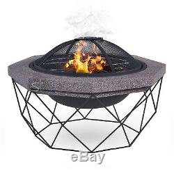 Diamond Stand Fire Pit & Bbq Grill Outdoor Garden Patio Heater Uv Party Mesh New
