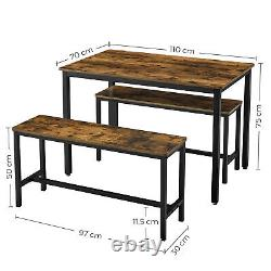 Dining Table with 2 Benches 3 Pieces Set Kitchen Table Multifunctional KDT070B01